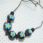 Vintage Handpainted Seed Pod Beads Adjustable Cord Necklace in Blue and Black