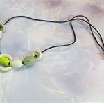 Handpainted Wooden Bead Adjustable Cord Necklace in Green, Blue and White