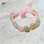 Pretty Button Bracelet in  Pastel colours of Greens and Yellows