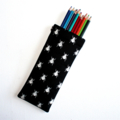 Pencil Case in Quality Fabric with White Bug Print