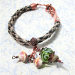 Green Kumihimo Bracelet with ArtisanLampwork Beads