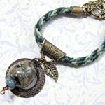 Green Kumihimo Bracelet with Artisan Lampwork Beads & Vintage Bronze Findings