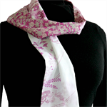 Patchwork scarf in purples.  Recycled cotton kimono fabrics