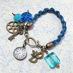 Blue Kumihimo Bracelet with ArtisanLampwork Beads