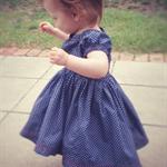Peasant dress girls, navy blue poplin polka dot, made to order sizes 2-5