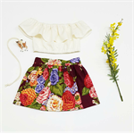 Little Girls Floral Skirt, Maroon Floral Skirt, Toddler Skirt,  Size 1 to 3