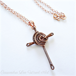 Solid Copper Handmade Wire Wrapped Celtic Cross Pendant