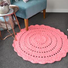 Coral Pink Crochet floor rug