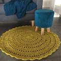 Mustard Yellow Crochet floor rug