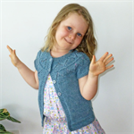 Bamboo/wool short sleeved cardigan with lace yoke