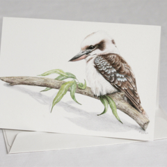 Kookaburra greeting card Australian wildlife art, landscape, log, gum leaves
