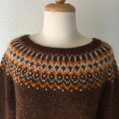 Fairisle Yoked Icelandic Woollen Jumper women's size medium 12-14