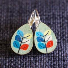 Danish Leaf Design Wooden Teardrop  Earrings