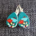 Tulips Wooden Teardrop  Earrings