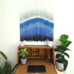 Blue Dip Dye Wall Hanging Weaving Tapestry Macrame