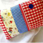Retro vintage travel or room accessory pillow, cute animals, Japanese fabric ♥