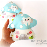 Pastel Aqua Toadstool - Tooth Fairy pillow 100% pure wool felt, Perth Australia
