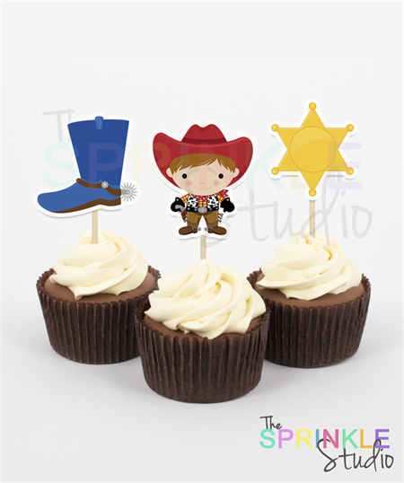Cupcake Toppers ~ cowboy ~ set 12.  Party, cake toppers, cupcakes