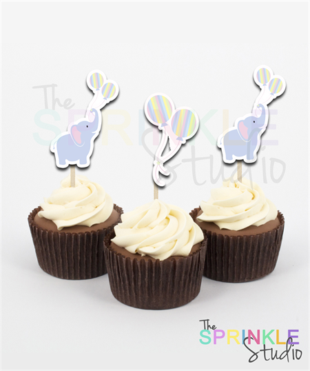 Cupcake Toppers ~ cute elephant with balloons ~ set 12