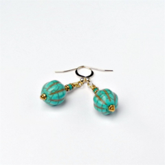 Turquoise and Gold Exotic Moroccan style Earrings