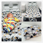Change Mat - Gold Geometric.  Roll Up with Nappy and Wipes Storage