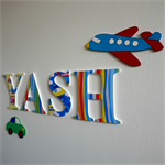 Wooden 12cm Wall or Door Letters. 4 letters and Motif.