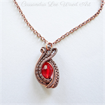 Solid Copper Handmade Wire Wrapped Red Crystal Pendant