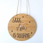 Shhh Baby is Sleeping Personalised Wooden Bamboo Door / Wall hanging