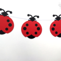 Bright Red Lady Bug Garland. First birthday party, baby shower banner.