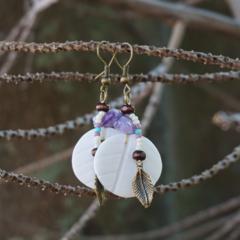 "Native American-Style Beaded Earrings - ""Frangipani & Amethyst"""