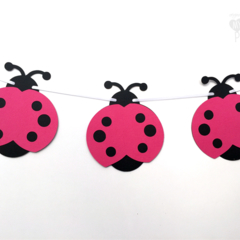Bright Pink Lady Bug Garland. First birthday party, baby shower banner.