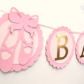 Pink & Gold Ballet Shoe BABY GIRL Banner. Ballerina birthday party, baby shower.