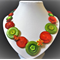 Scarlet blooms button necklace