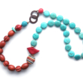 Bird on a rainbow beaded necklace red blue striped by Sasha+Max Studio