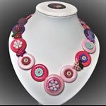 Beaut Buttons - Strawberry fields button necklace