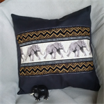 Cushion Jungle Animals Elephants 40 x 40 Pillow Cover Charcoal Black