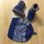 Hand Knit, 0-3m, Wool Beanie Hat & Bootie Shoes, Blue / Tan