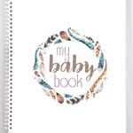Baby Record Book - Unisex - Boho Feathers Watercolour - Basic