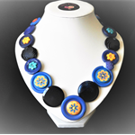 Beaut Buttons - Midnight blossom button necklace