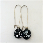 Black and Silver Dot Sterling Silver  Fused Glass Long Danglies Earrings