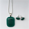 Emerald Green Fused Glass Pendant and Earrings Set