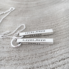 Bar Necklace, Mother Necklace, Hand Stamped Bar Necklace, Four Sided Bar