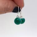 Fused Glass Danglies Earrings ~ Emerald Green ~ Sterling Silver