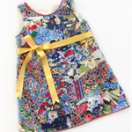 Pinafore, girls, 3-4 year old, play dress, bright blue and red, ribbon tie