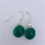 Fused Glass Danglies Earrings ~ Emerald Green ~ Sterling Silver