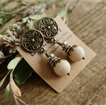 "Victorian ""Dusty Vanilla""  Floral Boho Chic Rustic Gypsy Crystal Stud Earrings"