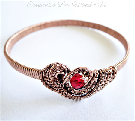 Wire Wrapped Solid Copper Red Crystal Handcrafted Bangle