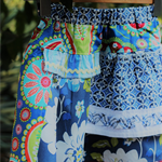 Multi-coloured twirly swirly skirt - size 4