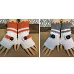 Crochet Fingerless Gloves,Wool Buckle Arm Warmers, White Orange Wrist Glove
