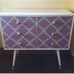 Chest of drawers white with mauve, aqua and gold diamond design front